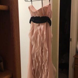 Strapless Pink Dress with Black Sash